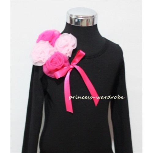 Black Long Sleeve Top with Bunch of Hot Light Pink Rosettes and Hot Pink Bow TB81