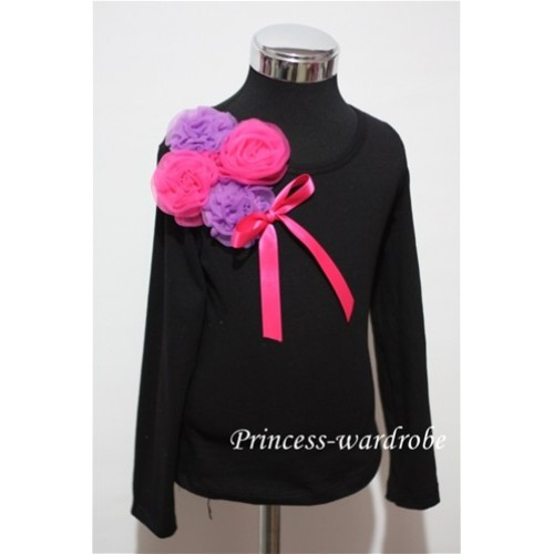 Black Long Sleeve Top with Bunch of Dark Purple Hot Pink Rosettes and Hot Pink Bow TB84