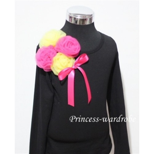 Black Long Sleeve Top with Bunch of Yellow Hot Pink Rosettes and Hot Pink Bow TB85