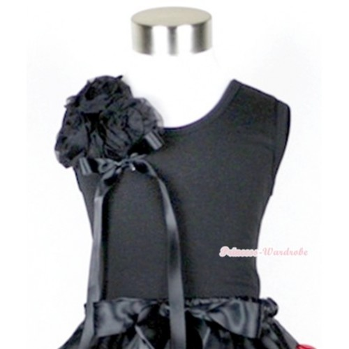 Black Tank Top with Bunch of Black Rosettes& Black Bow TB267
