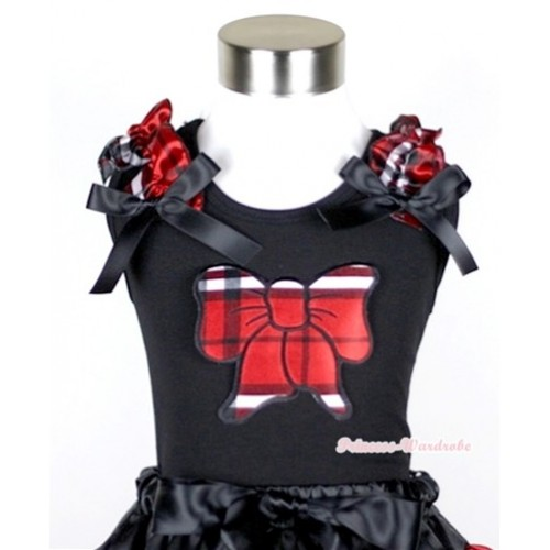 Black Tank Top With Red Black Checked Butterfly Print with Red Black Checked Ruffles & Black Bow TB269