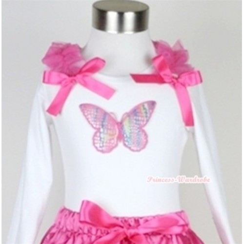 White Long Sleeves Top with Rainbow Butterfly Print With Hot Pink Ruffles & Hot Pink Bow T286