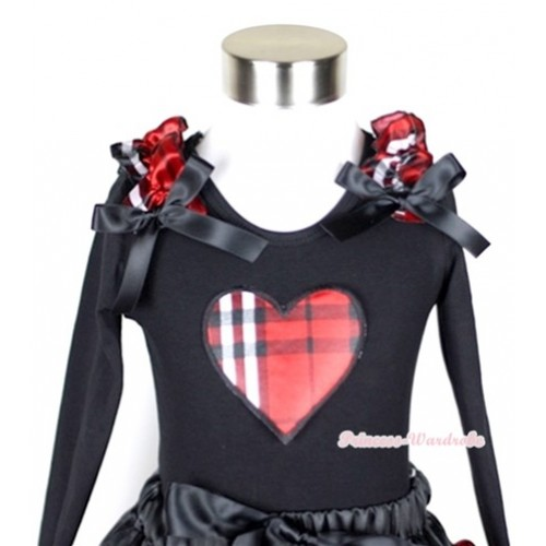 Black Long Sleeves Top with Red Black Checked Heart Print With Red Black Checked Ruffles & Black Bow TB35