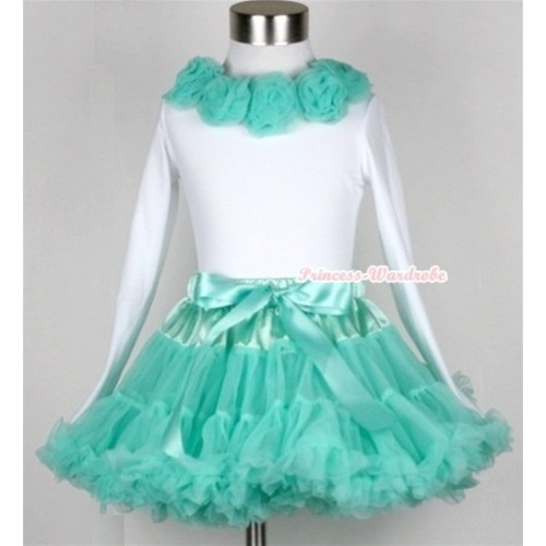 Aqua Blue Pettiskirt Matching White Long Sleeve Top With Aqua Blue Rosettes MW150