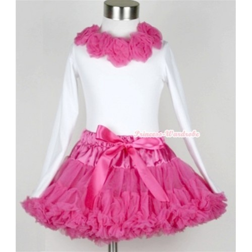Hot Pink Pettiskirt Matching White Long Sleeve Top With Hot Pink Rosettes MW154