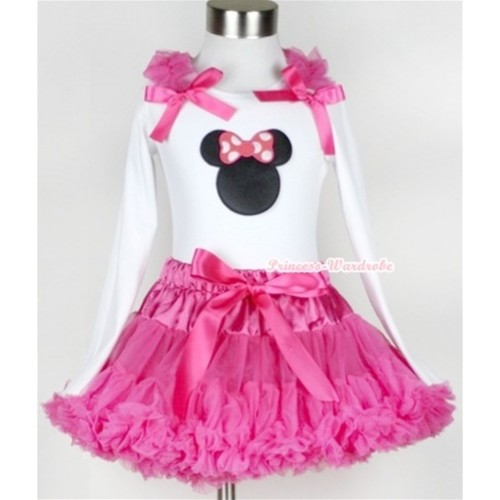 Hot Pink Pettiskirt with Hot Pink Minnie Print White Long Sleeve Top with Hot Pink Ruffles & Hot Pink Bow MW169