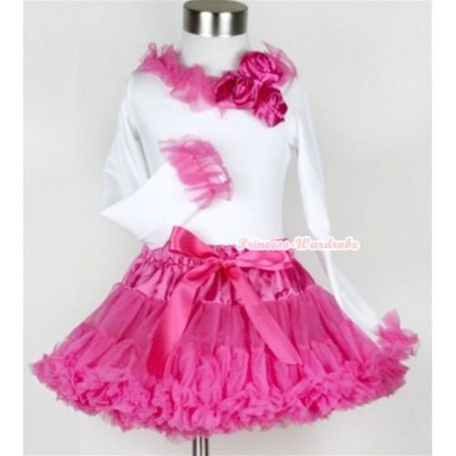 Hot Pink Pettiskirt with Matching White Long Sleeves Top with Bunch of Hot Pink Satin Rosettes & Hot Pink Lacing MW176