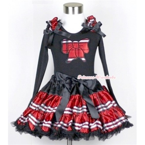 Red Black Checked Pettiskirt with Red Black Checked Butterfly Print Black Long Sleeve Top with Red Black Checked Ruffles & Black Bow MW142