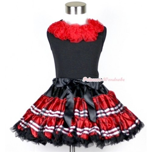 Black Tank Tops with Red Rosettes & Red Black Checked Pettiskirt MW103