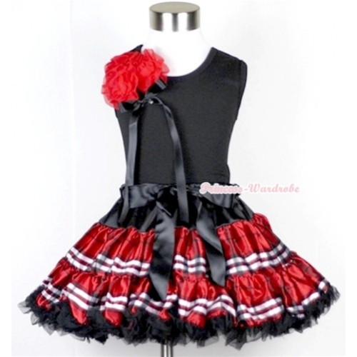Black Tank Top with a Bunch of Red Rosettes and Black Bow With Red Black Checked Pettiskirt MW105