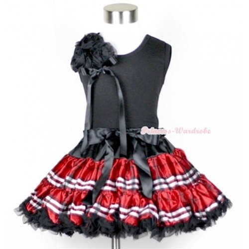 Black Tank Top with a Bunch of Black Rosettes and Black Bow With Red Black Checked Pettiskirt MW106