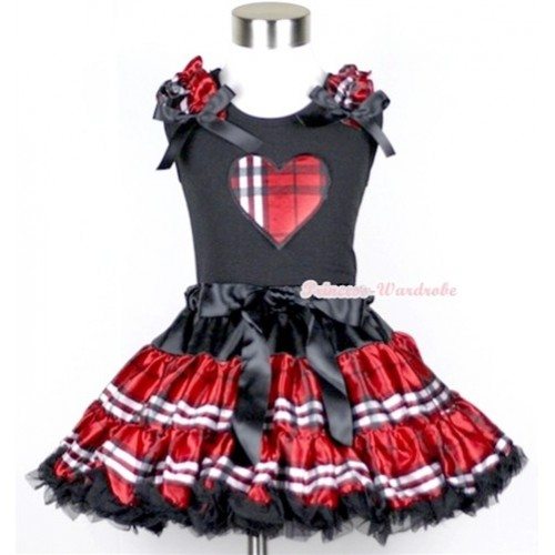 Black Tank Top with Red Black Checked Heart Print with Red Black Checked Ruffles & Black Bow & Red Black Checked Pettiskirt MW109