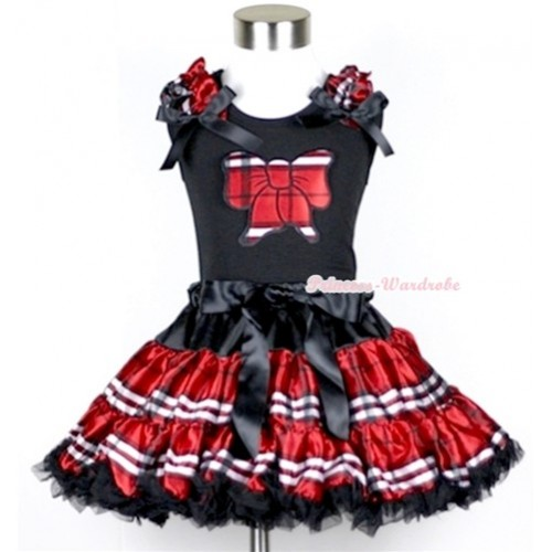 Black Tank Top with Red Black Checked Butterfly Print with Red Black Checked Ruffles & Black Bow & Red Black Checked Pettiskirt MW177