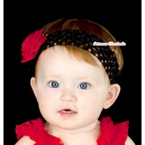 Black Headband with Red Rosettes H555
