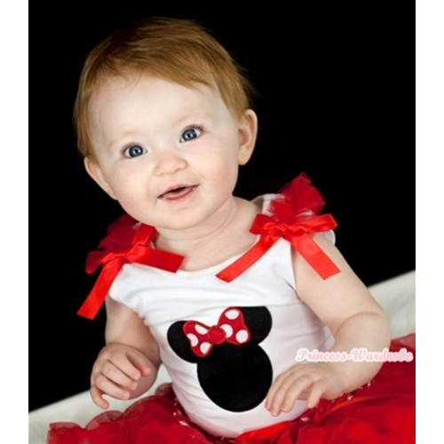 Minnie Print White Tank Top with Red Ruffles and Bow T371