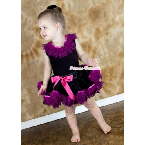 Black Tank Top with Hot Pink Feather Lacing With Black Mix Hot Pink Feather Pettiskirt NG428