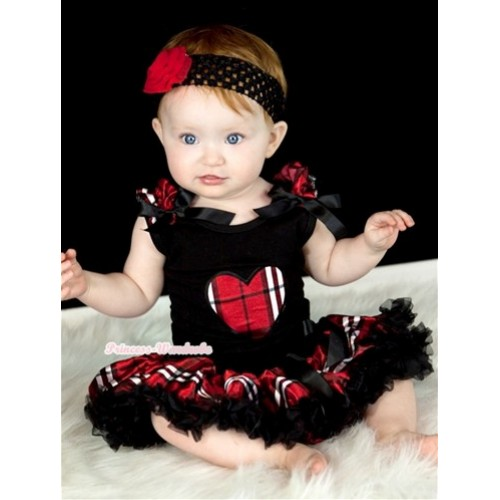 Black Baby Pettitop with Red Black Checked Heart Print with Red Black Checked Ruffles & Black Bow & Red Black Checked Newborn Pettiskirt With Black Headband Red Rose NG429