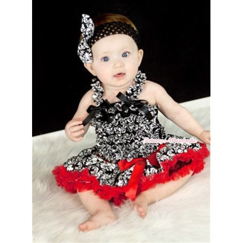 Damask Baby Ruffles Tank Top with Red Damask Baby Pettiskirt with Black Headband Damask Satin Bow NR45