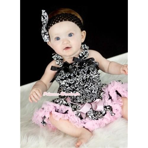Damask Baby Ruffles Tank Top with Light Pink Damask Baby Pettiskirt with Black Headband Damask Satin Bow NR46