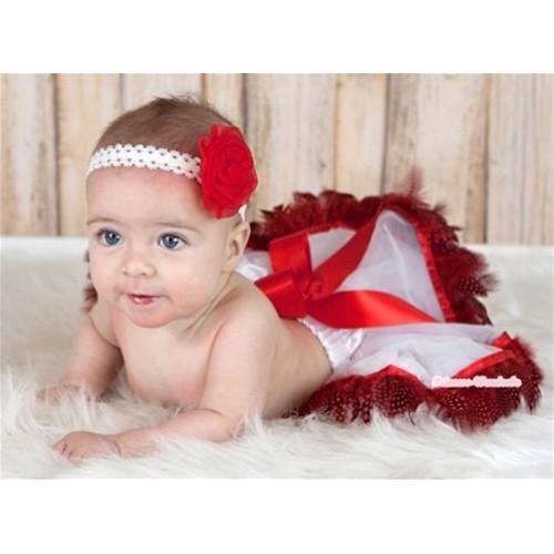 White Mix Red Feather Newborn Pettiskirt N104