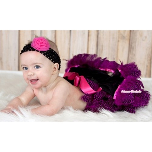 Black Mix Hot Pink Feather Newborn Pettiskirt N110