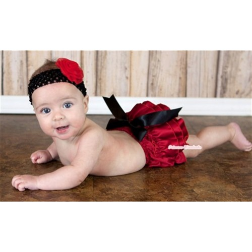 Hot Red Satin Layer Panties Bloomers with Big Black Bow BC124