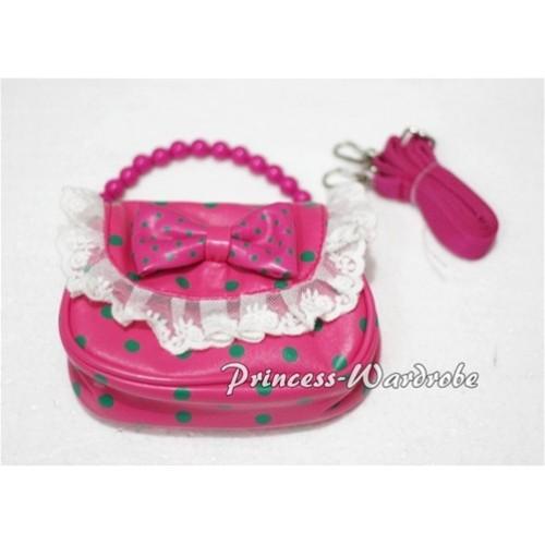 Hot Pink Green Polka Dots Little Cute Handbag Petti Bag Purse Accessory CB08