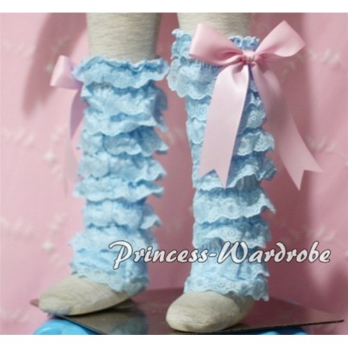 Baby Light Blue Lace Leg Warmers Leggings with Light Pink Ribbon LG87