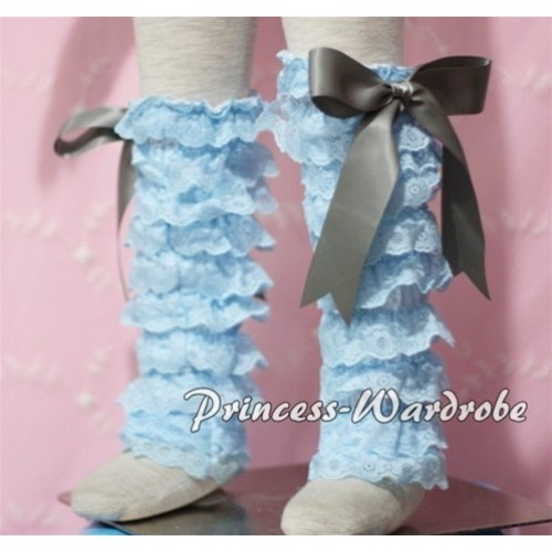 Baby Light Blue Lace Leg Warmers Leggings with Grey Ribbon LG90