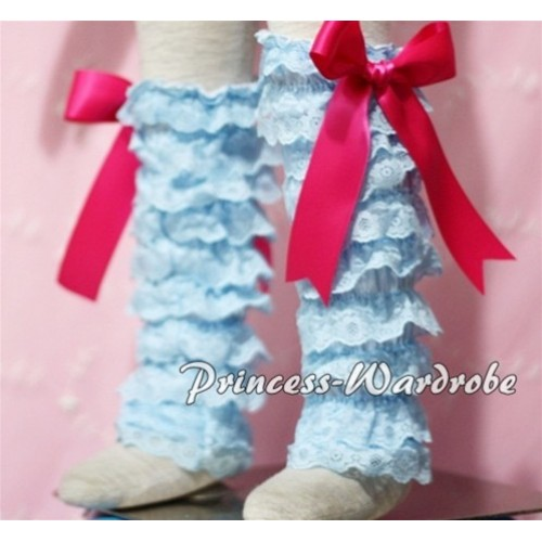 Baby Light Blue Lace Leg Warmers Leggings with Hot Pink Ribbon LG91