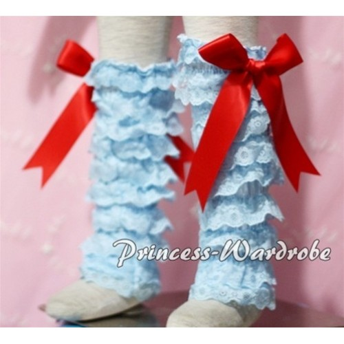Baby Light Blue Lace Leg Warmers Leggings with Red Ribbon LG92