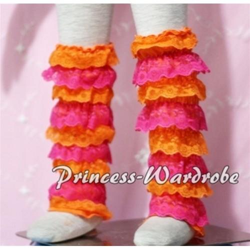 Baby Hot Pink Orange Lace Leg Warmers Leggings LG96