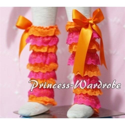 Baby Hot Pink Orange Lace Leg Warmers Leggings with Orange Ribbon LG97