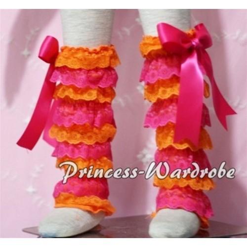 Baby Hot Pink Orange Lace Leg Warmers Leggings with Hot Pink Ribbon LG98
