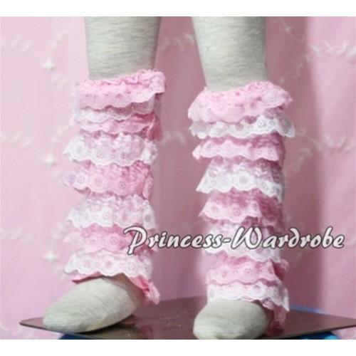 Baby Light Pink White Lace Leg Warmers Leggings LG100