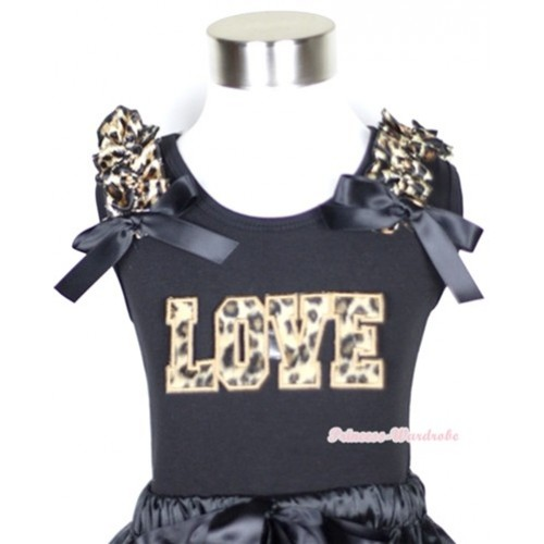 Black Tank Top With Leopard Love Print with Leopard Ruffles & Black Bow TB272