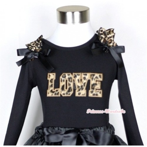 Black Long Sleeves Top with Leopard Love Print With Leopard Ruffles & Black Bow TB39