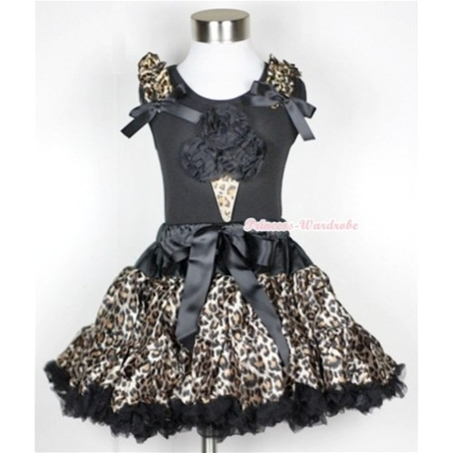 Black Tank Top with Black Rosettes Leopard Ice Cream Print with Leopard Ruffles & Black Bow With Black Leopard Pettiskirt MW183