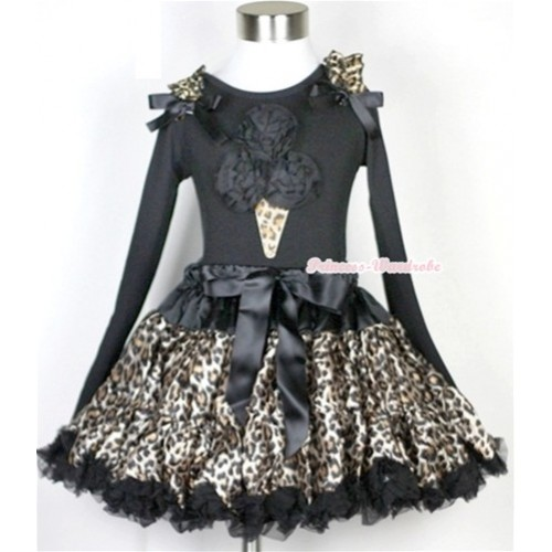 Black Leopard Pettiskirt with Black Rosettes Leopard Ice Cream Print Black Long Sleeve Top with Leopard Ruffles & Black Bow MW187