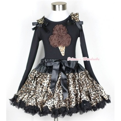 Black Leopard Pettiskirt with Brown Rosettes Leopard Ice Cream Print Black Long Sleeve Top with Leopard Ruffles & Black Bow MW188