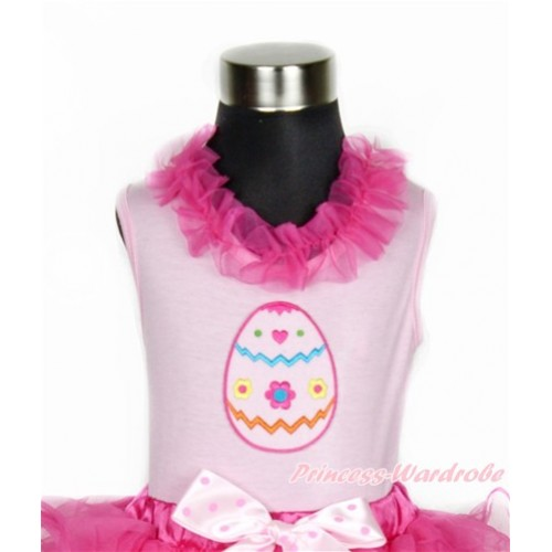 Easter Light Pink Tank Tops with Hot Pink Lacing with Easter Egg Print TP61