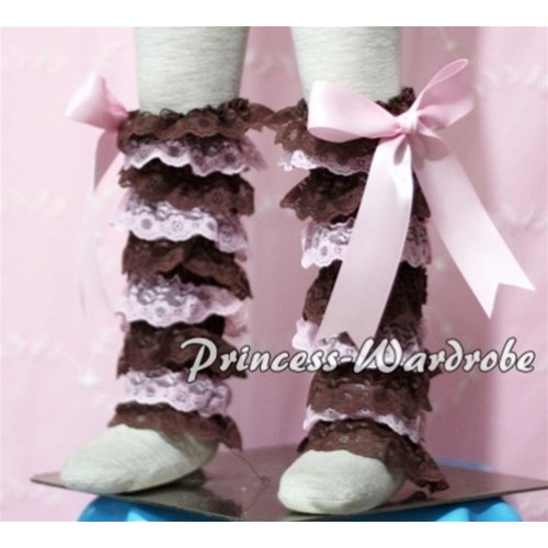 Baby Brown Light Pink Lace Leg Warmers Leggings with Light Pink Ribbon LG104
