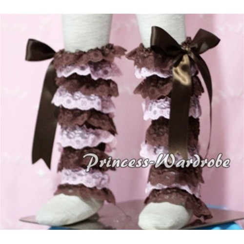 Baby Brown Light Pink Lace Leg Warmers Leggings with Brown Ribbon LG105