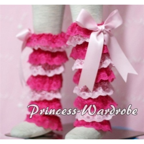 Baby Hot Light Pink Lace Leg Warmers Leggings with Light Pink Ribbon LG108