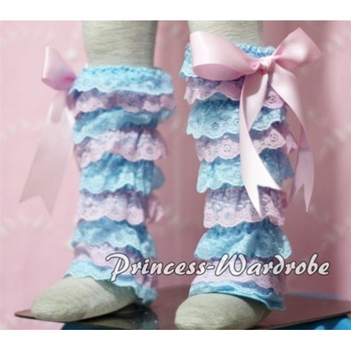 Baby Light Blue Pink Lace Leg Warmers Leggings with Light Pink Ribbon LG110
