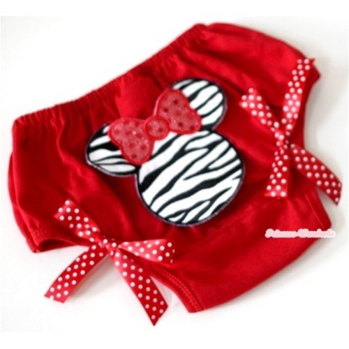 Red Bloomer With Zebra Minnie Print & Red White Polka Dots Bow BL75