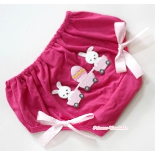 Hot Pink Bloomer With Bunny Rabbit Egg Print & Light Pink White Polka Dots Bow BL77