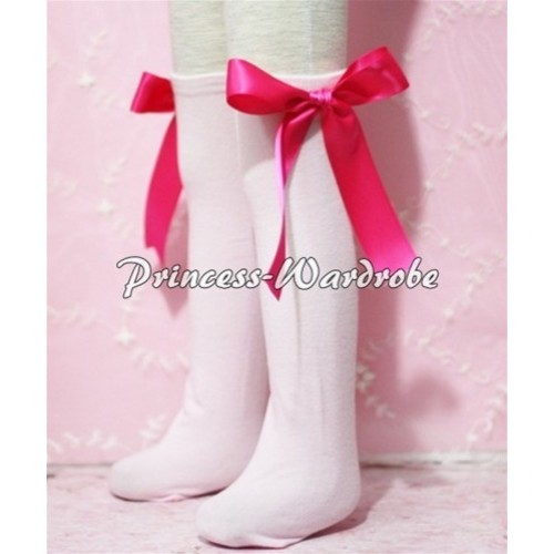 Light Pink Cotton Stocking with Hot Pink Ribbon SK05