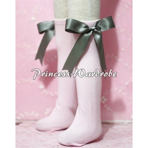 Light Pink Cotton Stocking with Grey Ribbon SK06