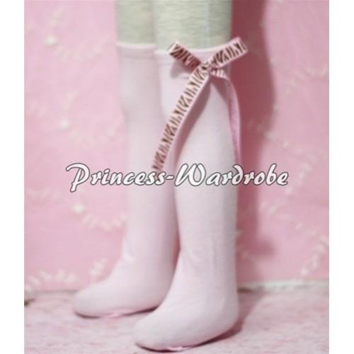 Light Pink Cotton Stocking with Light Pink Brown Zebra Ribbon SK09